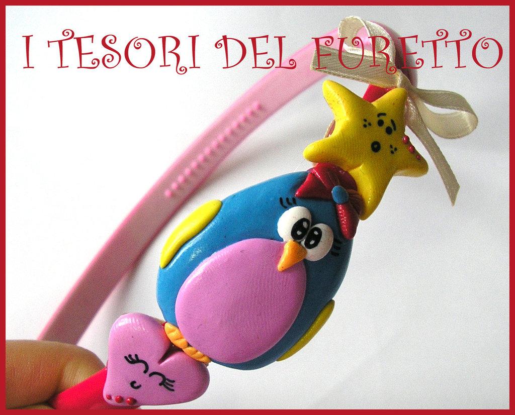 """Cerchietto """"Pinguino Stella Cuore"""" pastello kawaii fimo cernit idea regalo"""