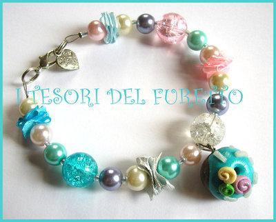 "Bracciale  ""Donut Pastello "" fimo cernit kawaii perle idea regalo"