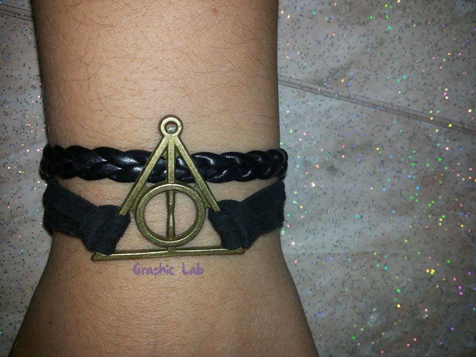 Braccialetto Personalizzato Harry Potter e i Doni della Morte in Pelle ed Alcantara