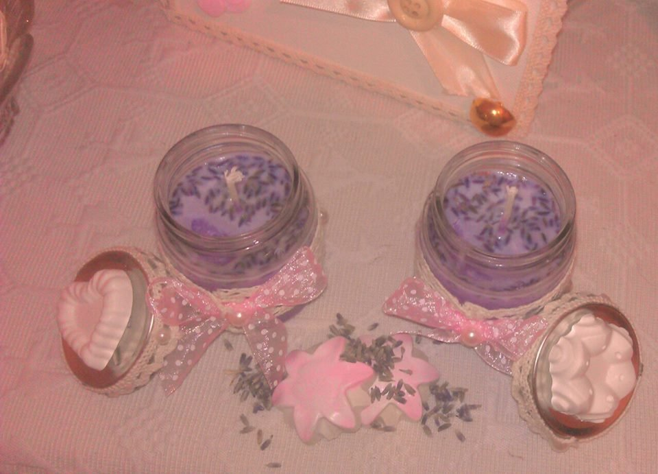 2 candele bio, senza paraffina, profumate alla lavanda