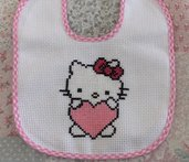 Bavaglino Hello Kitty a Punto Croce