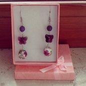 """orecchini pendenti """"farfalla"""" viola"""