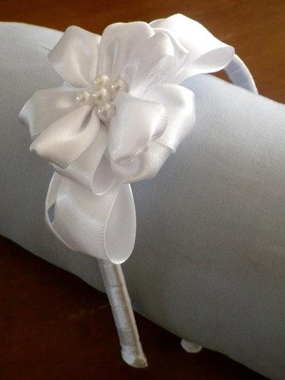 Cerchietto per Capelli in Raso Bianco