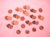 CHARMS  IN STILE KAWAII - uno a scelta BISCOTTI con fiorellino, ciliegie e fragoline  - fimo per orecchini bracciali collane  colore ROSA