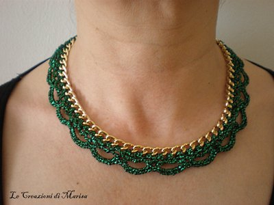 collana girocollo catena e uncinetto lurex