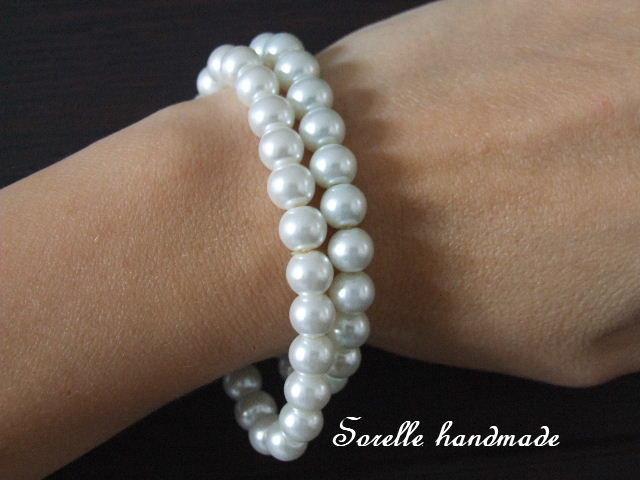 Braccialetto di perle colore bianco