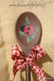 Mestolo decorativo in legno, coccinelle