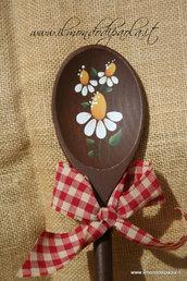 Mestolo decorativo in legno, margherite