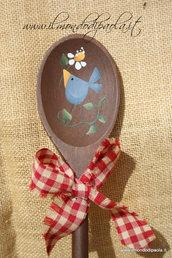 Mestolo decorativo in legno, uccellino blu