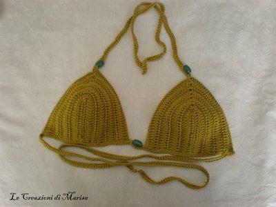 Reggiseno bikini a triangolo verde ad uncinetto