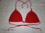 Reggiseno Bikini triangolo rosso ad uncinetto