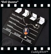 EDIZIONE LIMITATA! Collana vecchia strega Biancaneve, cammeo foto, base nera doppia catena- Maleficent, regine cattive,lolita pin up