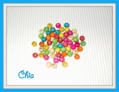 30 perline legno colorate 7mm vend.