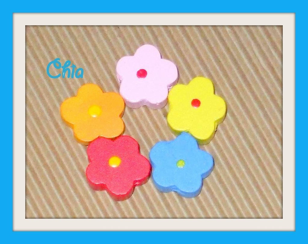 5 perle legno fiori vend.