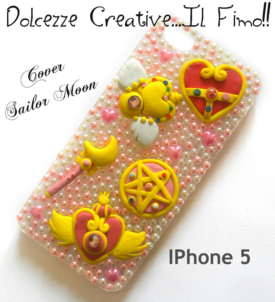 Cover IPHONE 5 Sailor Moon, cristallo del cuore scettro idea regalo diamanti kawaii cute