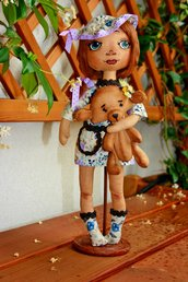 Art doll Darina, bambola di stoffa per decorare la tua casa