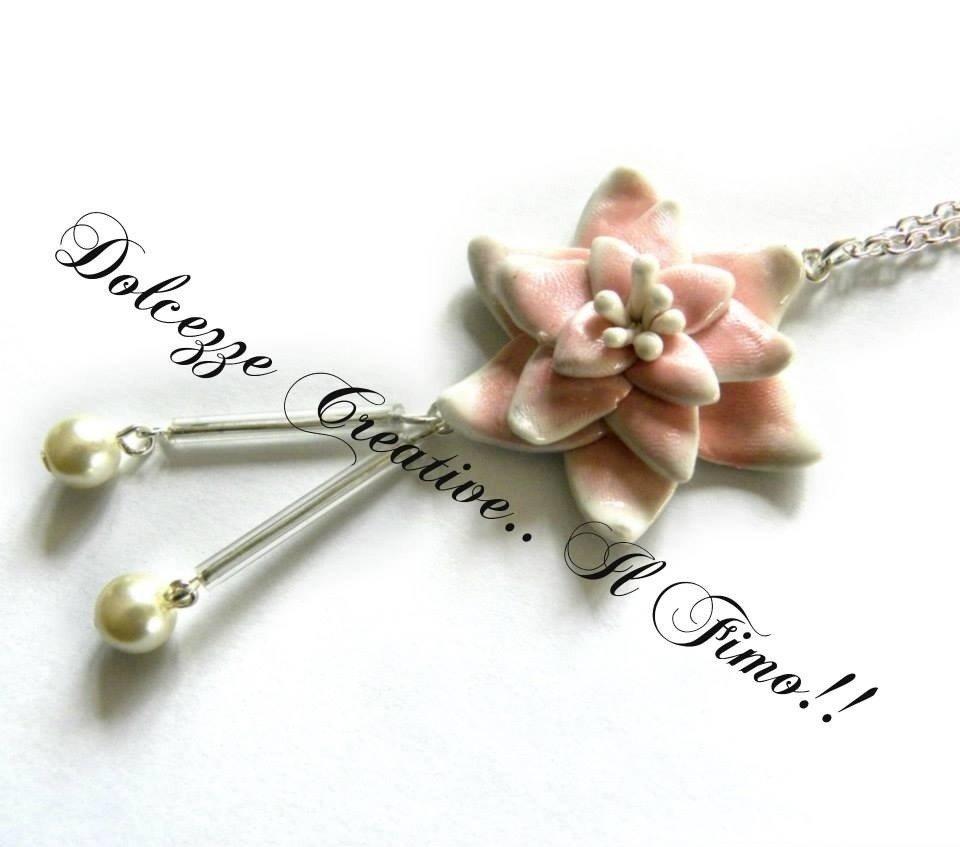 Collana Fiore di loto con perle. Japan Style