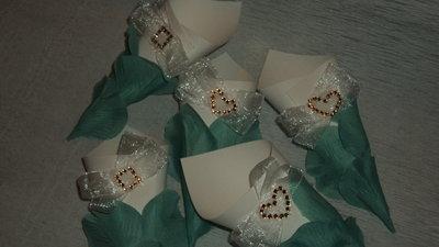 coni riso confettata artigianali petali tiffany e strass