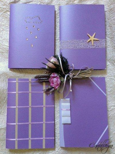 Quadernini in carta perlata con decorazioni varie e rilegati a mano A5
