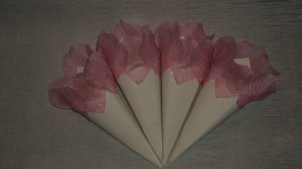 coni riso confettata artigianali petali rosa