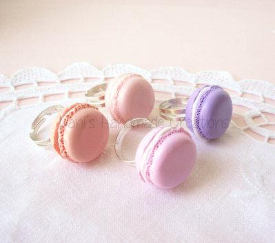 Anello con macaron in fimo - colore a scelta