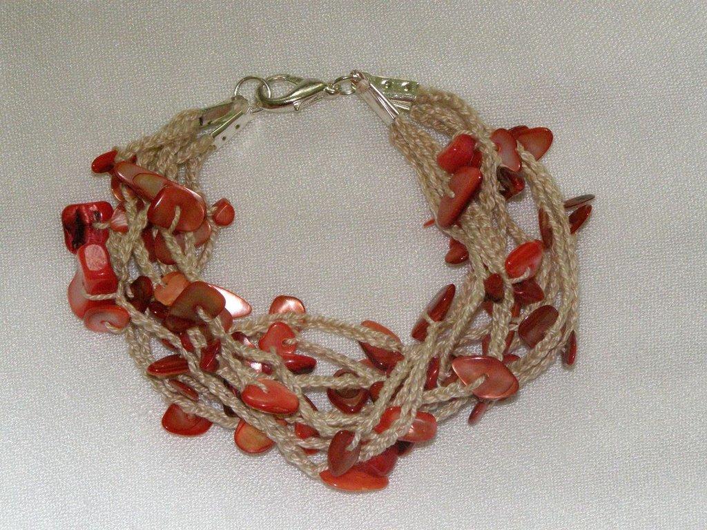bracciale multifilo corallo