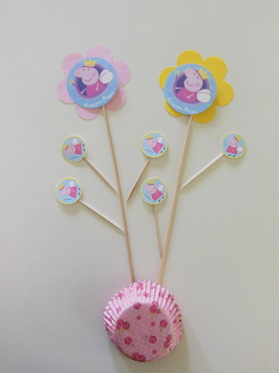 Decorazione per la festa di compleanno della vostra fatina: Peppa stuzzicadenti o bacchette per piccole principesse!