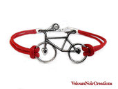bracciale con bicicletta in argento tibetano cordino rosso