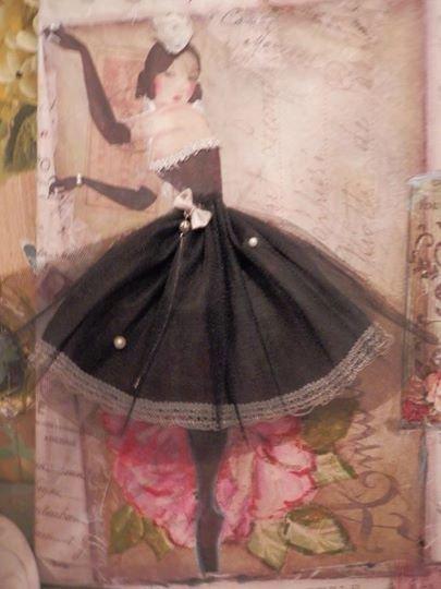 Quadro in pittura e decoupage raffigurante una ballerina