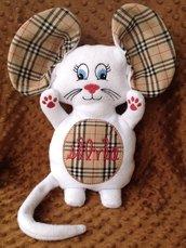 Topo personalizzato con nome - peluche pupazzo bianco