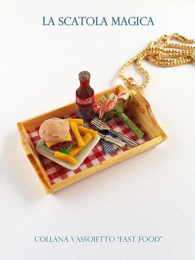"Collana vassoio in legno ""fast food"""