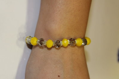 Bracciale con swarovski gialli e trasparenti