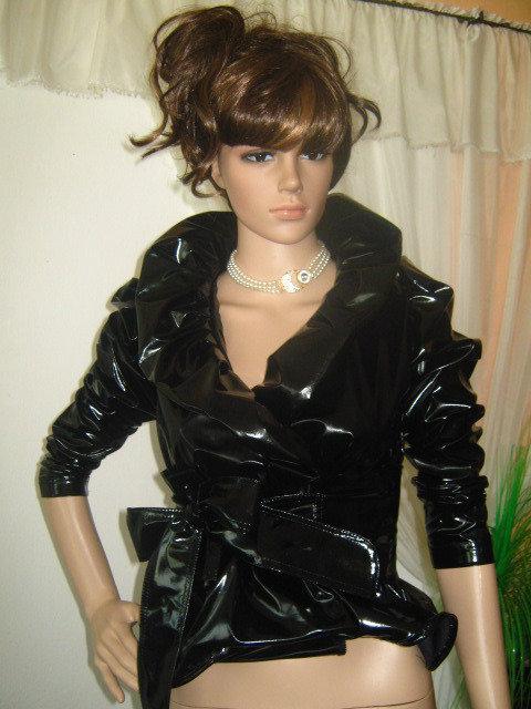 Elegante lattice nero giacca-cappotto, elegante e sexy.