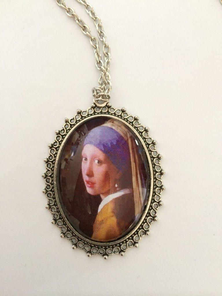 Collana Arte Vermeer, Cammeo in Vetro, Ragazza Orecchino di Perla
