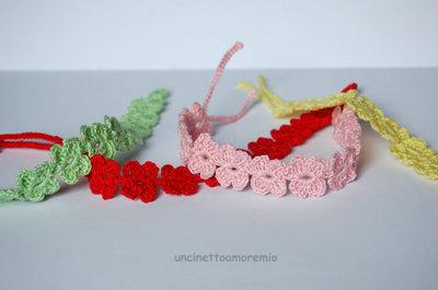 Braccialetti o caviglieri FIORE  ad uncinetto colorati ed unisex