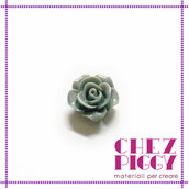 1 x cabochon a forma di fiore - Grigio 14 mm