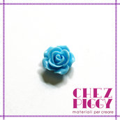 1 x cabochon a forma di fiore - Azzurro 14 mm