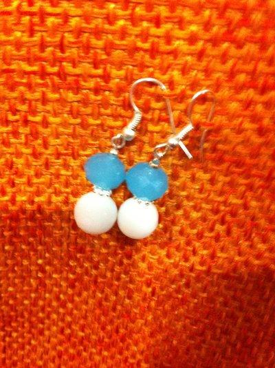 Orecchini con swarovski bianche e azzurri