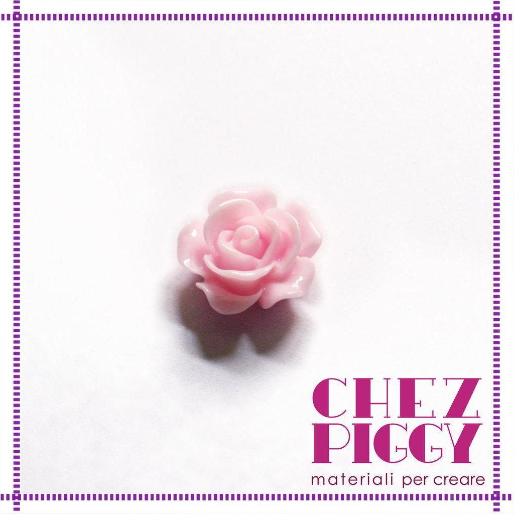 1 x cabochon a forma di fiore - Rosa 14 mm
