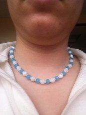 Collana girocollo con swarovski bianche e azzurri
