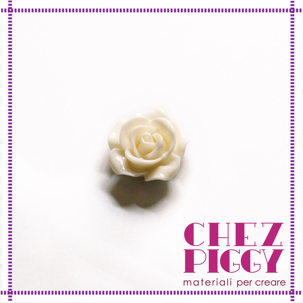 1 x cabochon a forma di fiore - Bianco 14 mm