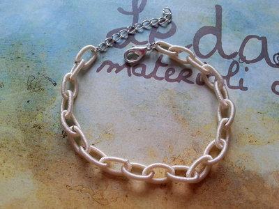 Base bracciale catena di seta beige