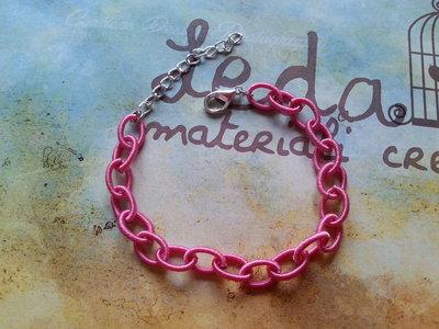 Base bracciale catena di seta rosa intenso