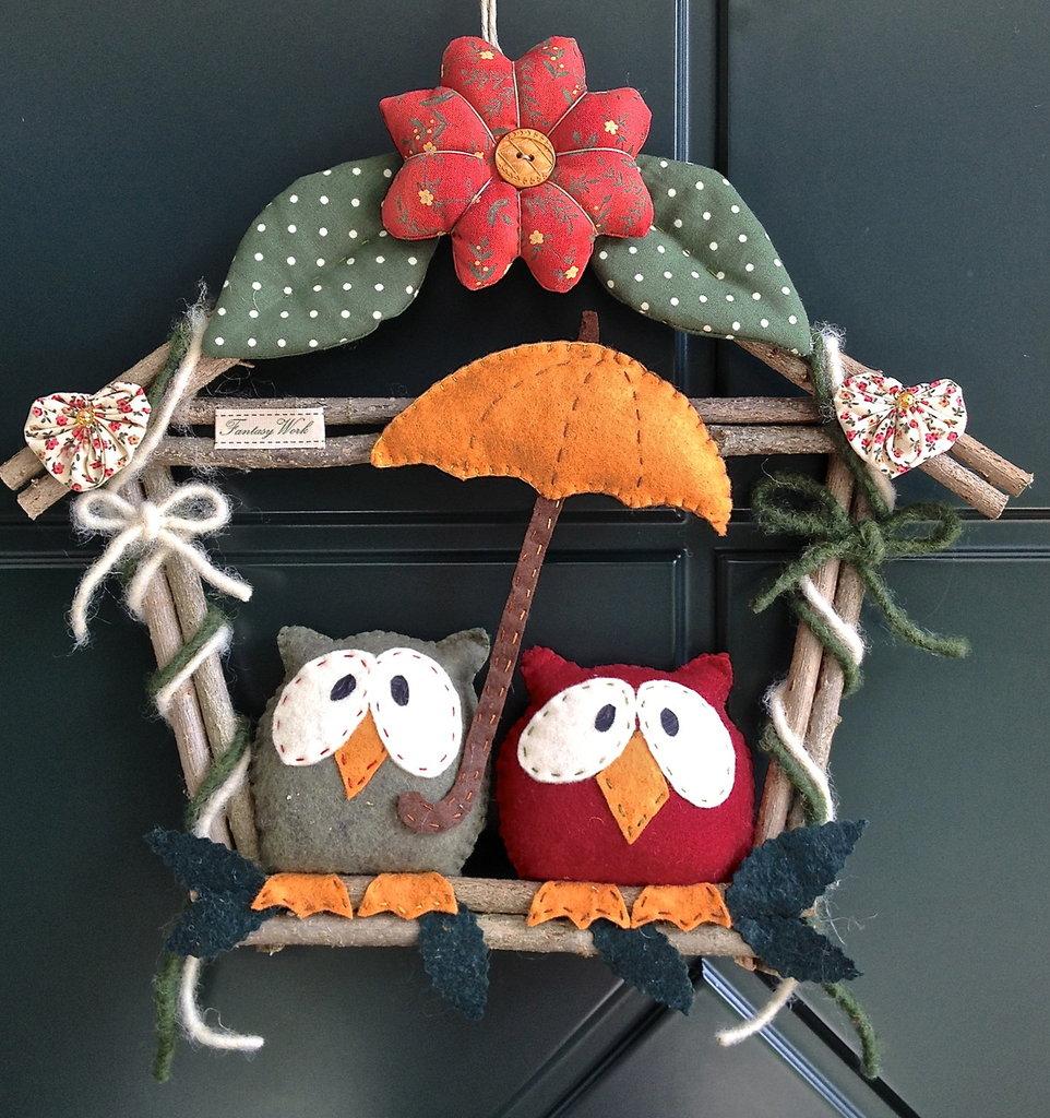 Ghirlanda casetta in legno il nido dei gufi con - Decorazioni natalizie con il legno ...