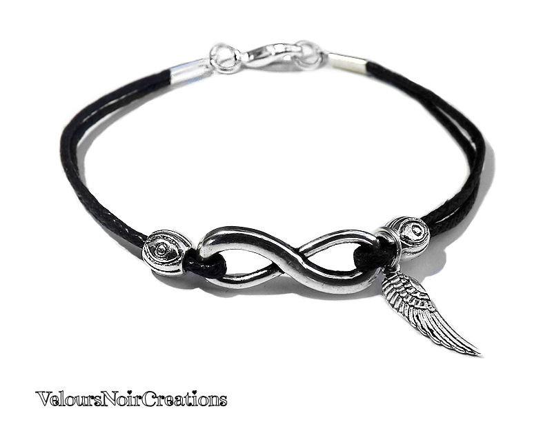bracciale uomo donna simbolo infinito ala angelo in argento tibetano