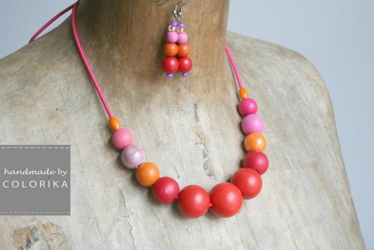 Set - legno / ceramica borda la collana + orecchini