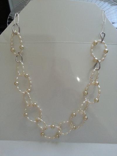 Collana perle di fiume e perle swaroski