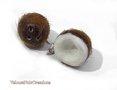 orecchini noce di cocco in fimo