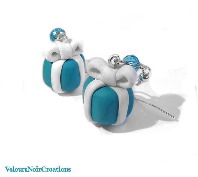 orecchini scatolo azzurro in fimo