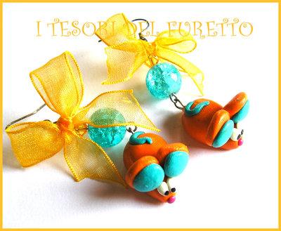 "Orecchini ""Topini arancio kawaii"" fimo cernit idea regalo animaletti"